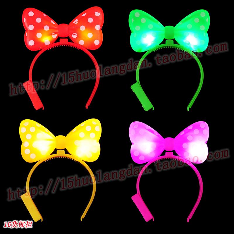 Flash hair pin luminous bow hairpin MINNIE headband hair bands party supplies(China (Mainland))