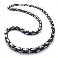 "21.7"" Men's Silver Black 5mm 316L Stainless Steel Chain Necklace,Free shipping,N#002"