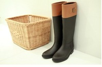 2013 winter New arrival women fashion motorcycle rain boots leather knee boot snow rain shoes ,free fast shipping