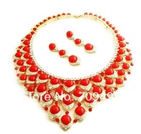 The red turquoise heart Bridal Jewelry wedding dress necklace