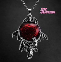 Free Shipping,New Arrival Wholesale Gothic series dark world dragon PUNK style necklace Bat Vampire pendant,mans jewelry,4531