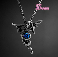 Free Shipping, New Arrival Wholesales Gothic Clan Dragon Pendant characteristics of Gothic style wings Crystal Necklace,4533