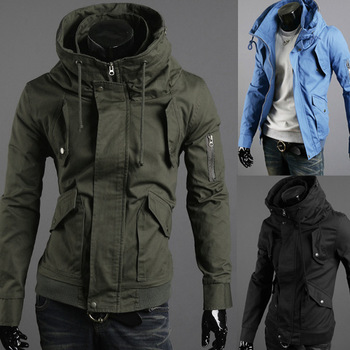 Free shipping male men's clothing slim solid color outerwear jacket [black, blue, army green]