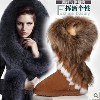 free shipping 2012 autumn and winter high long boots fox fur rabbit fur snow boots leather tassel women's shoes