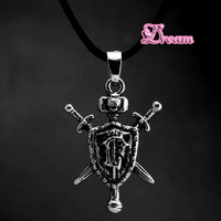 Free Shipping,New Arrival Wholesale Gothic Punk style game peripheral accessories lion shield sword Necklace,mans jewelry,4529