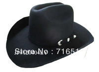 Black felt cowboy hats 100% wool felt for men and boyes  with felt trap and doulble head with new fashion style