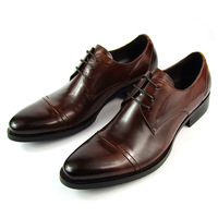 European version of the genuine leather formal men's Wine red lacing connector business formal leather