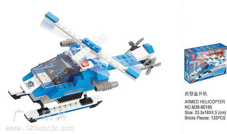 bloc de construction set slubanb0185 de police armés hélicoptère modèle éclairer brique de construction jouets jouet éducatif pour les enfants