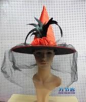 Beautiful dance party witch hat princess performance cap gauze rose halloween hat