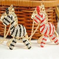 Free Shipping Min.order US$15_Retro innocence Three-dimensional zebra rhinestones sweater long necklace
