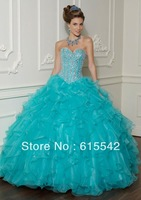 Custom Beaded Corset Quinceanera Dresses Formal Gowns Prom Dress Ball gown
