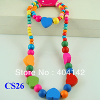 Children Jewelry Wooden Cute Heart Beads Children's Necklace Bracelet Jewelry Set Girl's Party Gift Wholesale lot 5 Sets CS26