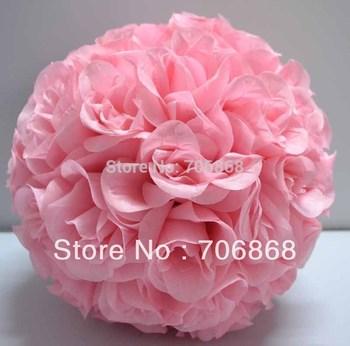 Light Pink Color Artificial silk kissing rose flower ball 30cm outer diameter 12pcs/lot wedding Church decoration