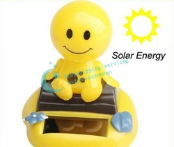 Lovely Solar Powered Car Interior Decorative Plastic Shaking Head Swing Doll Hot Drop/Free Shipping(China (Mainland))