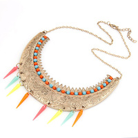 Free Shipping Wholesales Fashion Bend Moon Colourful Beaded Rivet Pendant Necklace