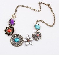 Wholesales price Bohemian style vintage delicate flower with rhinestone alloy necklaces,free shipping