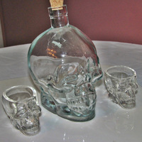 Empty Set of 1 Crystal Head Skull Vodka Bottle 750ml Cork and 2 Shot Glasses Wine/Tequila
