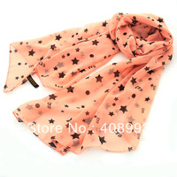 Fashion  women's long design silky chiffon scarf  star printed free shipping