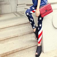 Женские джинсовые леггинсы WHOLE SALE! 2013 thin leopard print faux denim legging plus size elastic ankle length trousers female