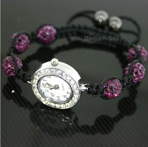 SHAMBALLA CRYSTAL DISCO BALL PURPLE BLING BRACELET SHAMBALA WATCH(China (Mainland))