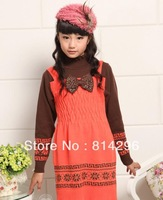 Free   shipping    Girl's sweater dress cuhk child qiu dong dress