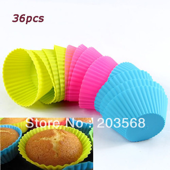 D19+3set /lot Cake Baking Cup Soft Silicone Round Cake Muffin Chocolate Cupcake Liner Cup Mold Wholesale