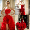 Zuhair Murad 2013 fashion strapless lace beadings high low dresses short front long back ruffles red sexy evening dresses