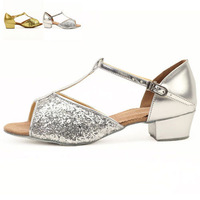 Latin dance shoes for women and child with open toe paillette