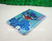 New arrive Crystal Diamond Stitch bling Hard Back cover Case For apple ipad MINI blue MN07
