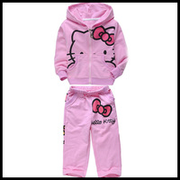 01-053 hello kitty (hoodie+ pants) suit for girls kids sets baby clothing kids sets baby clothing  HOT