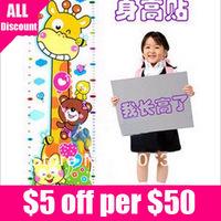 Retail Free Shipping Cartoon Giraffe Wall Sticker/Kids Measure Height/Children Grow Up Rule 1pcs/lot
