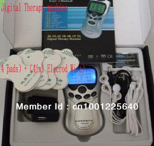 Hot tens acupuncture traitement numérique machine+massager pantoufles, +four fixation electrod wire+4 plaquettes. anglais avec la boîte de détail