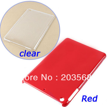D19+Red/Clear Transparent Hard Plastic Back Case Cover Skin Protector For Apple I-P-A-D Mini New