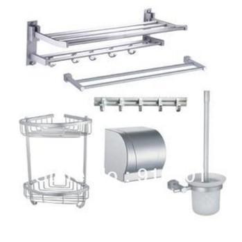 Factory sell!Free shipping!Contemporary Bathroom Hardware Sets Bathroom accessaries 6pcs aluminium set