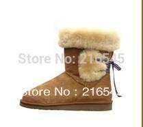 Australian sheepskin Women's Drawstring boot,sheepskin shoe,warm(China (Mainland))