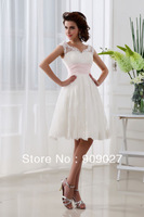 Free Shipping 2013 Sexy White A-Line Tulle Lace Tiered Knee Length Wedding Dresses Bridal Gown 01-157