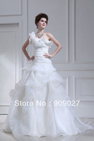 Free Shipping 2013 Sexy White One Shoulder A-Line Organza Tiered Chapel Train Wedding Dresses Bridal Gown 01-157