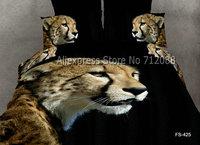 cool golden leopard animal pattern black cotton bedding sets duvet/comforter covers 4pcs bedroom Queen/full 3D oil painting