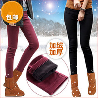 2013 pencil pants elastic waist women's candy color multicolour thickening plus velvet jeans pants, free shipping