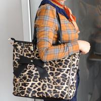 Free shipping High quality leopard print bag fashion big bags 2012 women's handbag vintage color block handbag