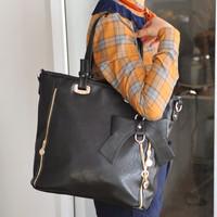 Free shipping Fashion vintage women's handbag female black bag double zipper messenger bag