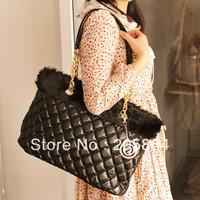 Free shipping 2012 women's handbag rabbit fur shoulder bag  fashion plaid handbag black bag