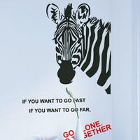 Free Shipping Wholesale Wall stickers Home Decor 560mm*800mm PVC  Vinyl Removable Art Mural Zebra B-44