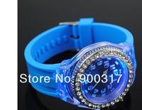 New Crystal Bezel Flash LED Backlight Light Classic Black Jelly  Lady Girl Sport Watch 50pcs/lot+free shipping