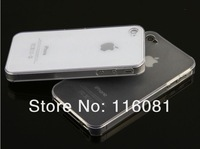 Free shipping 100pcs/lot Wholesales Hard Plastic clear crystal transparent back cover cases for iphone 4G 4S