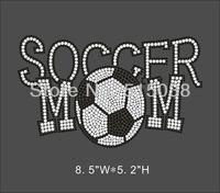 DHL Free shipping 30pcs/Lot Soccer Mom rhinestone iron on  transfers design ,MOQ(30pcs)&custom design is welcome