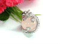 20mm Natural Rose quartz ball love healing stone & Dragon rape silver plating pendant TRP179
