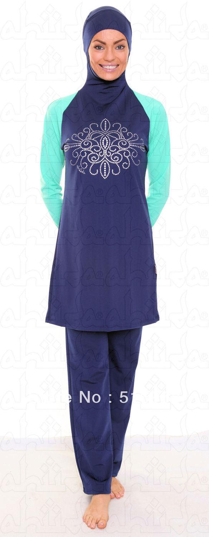 Trajes De Baño Azul Rey:Azul, impresión mujer traje de baño musulmán de vestido de traje de