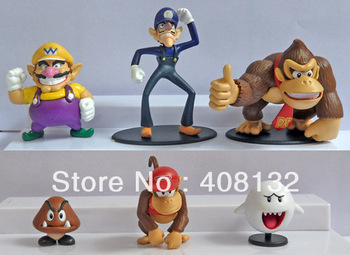 Wholesale - Super Mario Bros Wario Waluigi Diddy Kong Goomba Ghost Boo Donkey kong Action Figure PVC Dolls