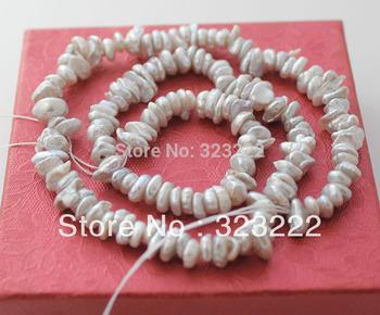 """6-8mm gray keshi pearl bead Loose gem 15.5"""" long"""